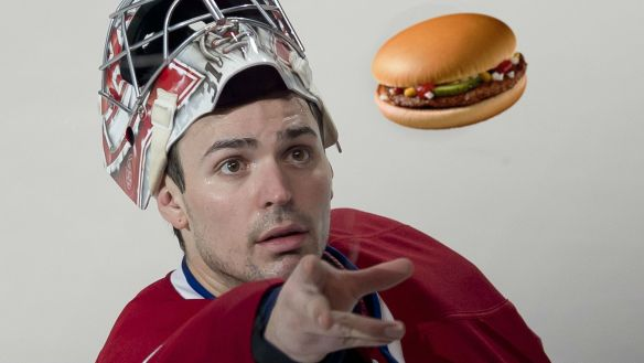 """A burger appeared to me in a dream last night."", explains Carey Price as his teammates start to visibly lose interest."